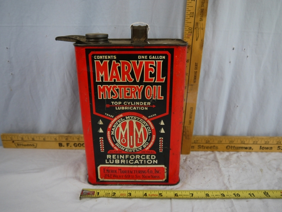 Marvel Mystery Oil one gallon empty can with pour spout