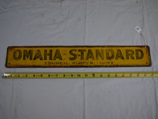 """OMAHA-STANDARD"" Council Bluffs, Iowa metal sign, 20"" long x 3"" tall"