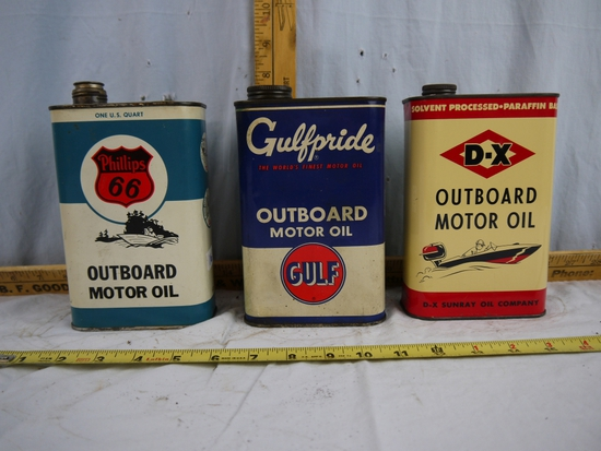 (3) Outboard Motor Oil quart cans