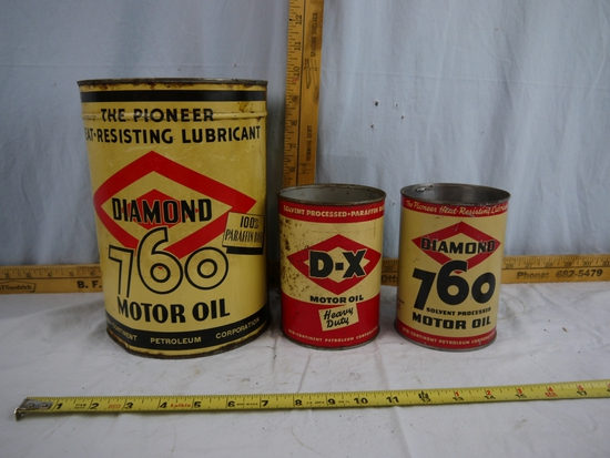 (3) empty oil cans: Diamond 760 5 quart & D-X & Diamond 760 one quart