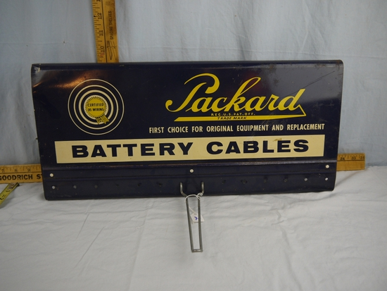 "Packard Battery Cables metal sign, 20-1/2"" tall x 9-1/4"" wide"