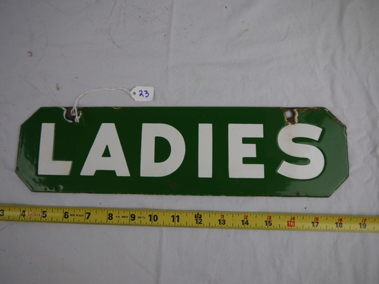"Enamel 2 sided ""Ladies: restroom sign - 15"" long x 4"" tall"