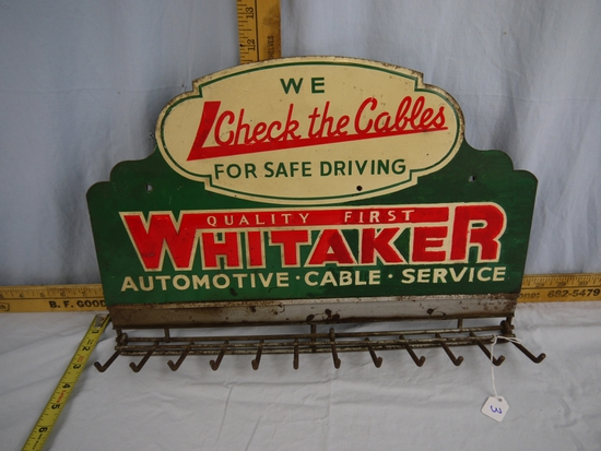 "Whitaker Automotive *Cable*Service metal sign with 12 hooks, 17"" wide x 11-3/4"" tall"