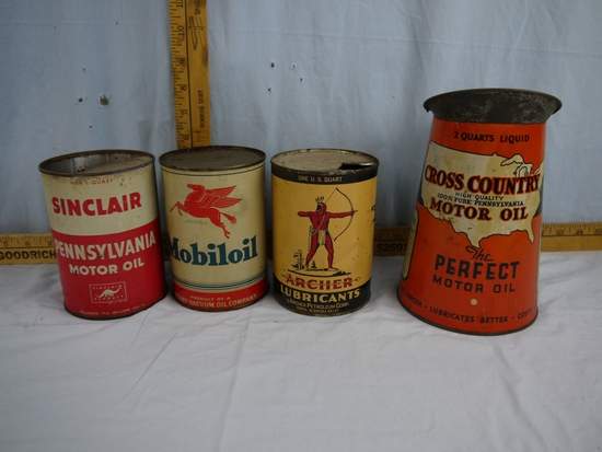 (4) oil items: 3 empty quart cans & 2 quart oil pitcher
