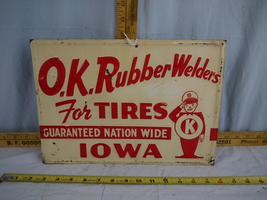 "O.K. Rubber Welders metal sign, 14"" wide x 9-3/4"" tall"