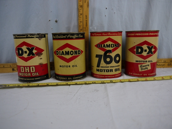 (4) Never Opened D-X quart motor oil cans