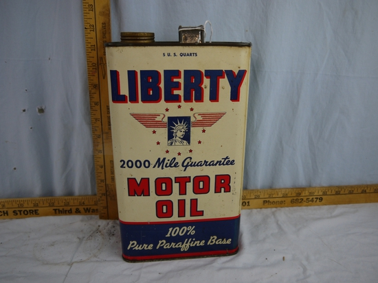 Liberty Motor Oil empty 5 U.S. Quarts can