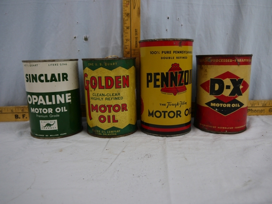 (4) empty quart oil cans