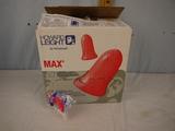 Box of Howard Leight earplugs - nearly full - size 6-12mm