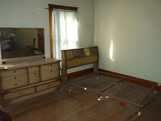 3 piece bedroom set: head board w/frame, 4 drawer chest and 8 drawer dresser with mirror