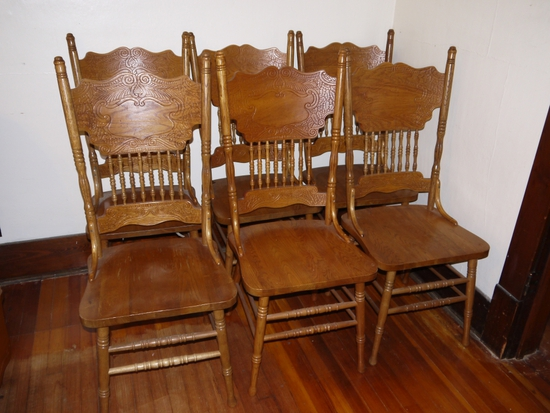 (6) oak double pressback dining chairs with solid seat
