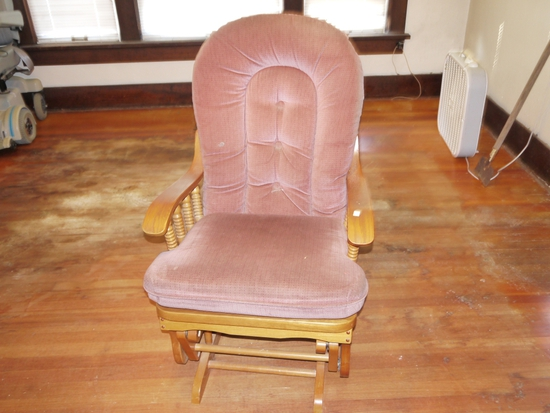 Glider rocker with oak trim