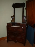 Deep well dresser with white marble insert, hanky drawers,