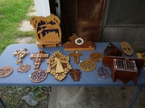 Assorted wood intricately cut knick-knack/wall hangings