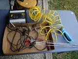 Tickle charger, hot dog roast sticks, BBs, garden sprayer