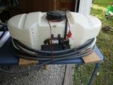 Fimco 15 gallon sprayer with high flo gold series pump, run by battery, wand- no boom