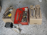 Black & Decker Skil saw, Sears battery charger, bar clamp, & misc tools in orange metal tool box