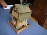 Wood bird house feeder