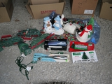 Electric knife, BBQ temp. fork & Xmas decorations (2 boxes)