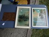 R. Atkinson Fox mountain lake print, Dutch moonlight print, & wood tie rack