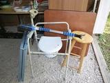 Card table, blue folding table, metal folding table, shower potty,