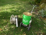 Yard spreader, outside therm, reel hose