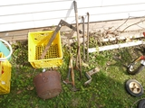 Milk crate with square, tire break, hitch, 2 hammers, 2 crow bars & CI kettle
