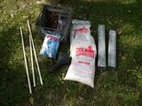 Metal milk crate, ice melt, bike seat, galv. spouts