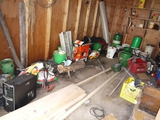 Balance of items inside garden shed