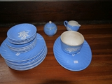 21 pieces of blue Cameoware, Harker Pottery Co: