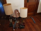 3 lamps, 2 small jewelry boxes & 2 desk lamps