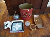 Metal trash can, Frankoma platter, mosaic ball candle holder, lead crystal & wood jewelry boxes