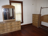 Bedroom set: dresser with mirror, highboy, bed frame with headboard