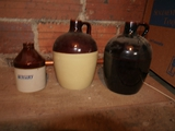 (3) crock jugs:  Mercury, 2-tone, & dark