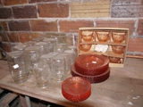 (20) canning jars and Pink depression dishes: (16) plates, (7) saucers, (8) cups