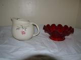 Ballerina ball pitchers & amberina clam shell bowl