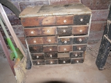 24 drawer wood parts bin - only 23 drawers, some pulls missing 22