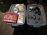 Rubbermaid tote w/lid & tools