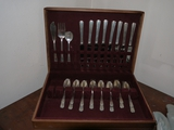 Westmoreland Sterling flatware w/8 each forks, spoons & knives, 3 serving pieces