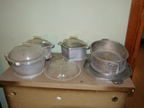 Guardian Service with 3 glass covered bowls, extra lid, oblong pan and serving tray