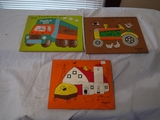 (3) Playskool wood puzzles: Farm 360-15, Tractor 330-4, Truck 360-19