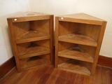 (2) corner book shelves