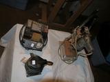 (3) pieces: Skil 7275 orbital sander, Wen wet wheel sharpener, & elec drill w/press stand