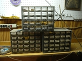 (3) 25 drawer organizers w/nuts, washer, screws, bolts & cotter pins.  3 trays missing