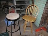 (2) stools: wood swivel bar stool 24-1/2
