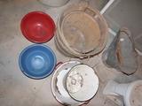2 bushel baskets, half bushel basket, rough coal bucket, & 4 pieces of enamel ware