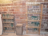 120+ canning jars, 1/2 gallon, quart, pint, and 1/2 pint
