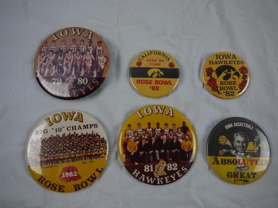 6 University of Iowa buttons