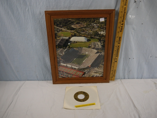 """Framed aerial photo of Kinnick Stadium 16-1/2"""" x 13-1/2"""" and The Fabulous Fryers record"""