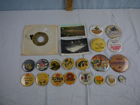 22 Iowa sports items - record, buttons, postcards